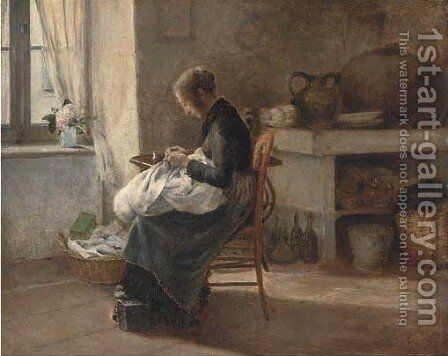 Woman sewing in an interior by Marie-Gabriel Biessy - Reproduction Oil Painting