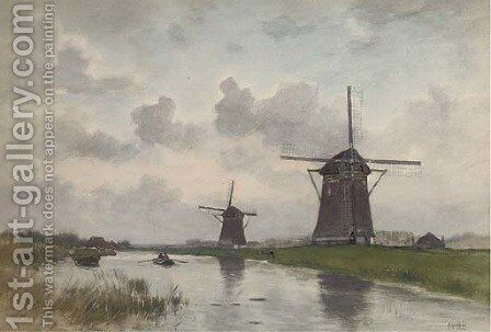 On a Dutch canal by Marinus Gidding - Reproduction Oil Painting