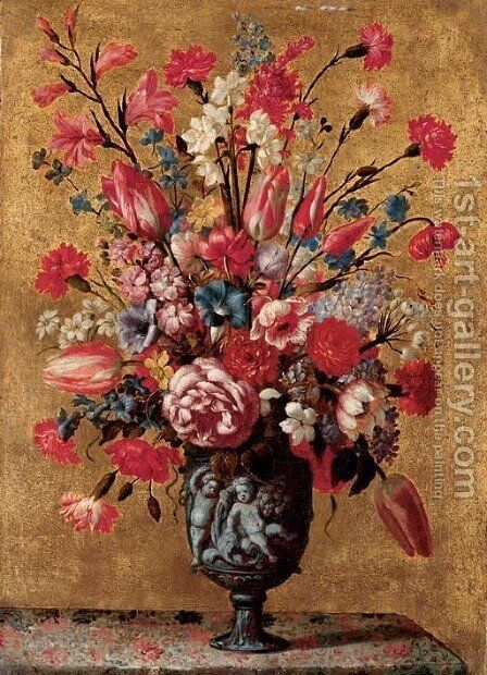 Tulips, carnations, roses, anemones, gladioli, lilac, morning glory and other flowers in a sculpted urn, on a tabletop by dei Fiori (Nuzzi) Mario - Reproduction Oil Painting