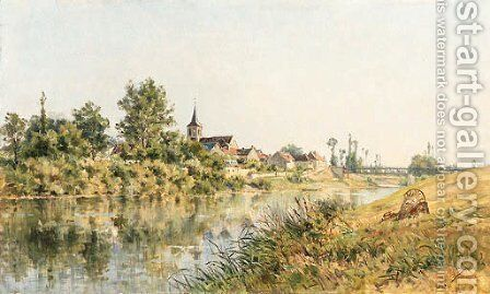 A French river landscape by Mario-Cornilleau-Raoul Carl-Rosa - Reproduction Oil Painting