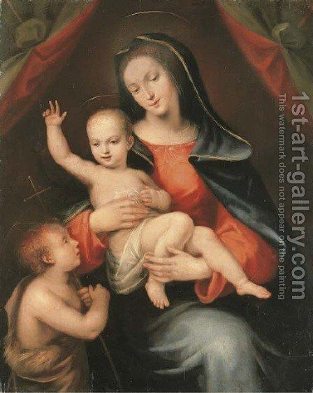 The Madonna and Child with the Infant Saint John the Baptist by Mariotto Albertinelli - Reproduction Oil Painting