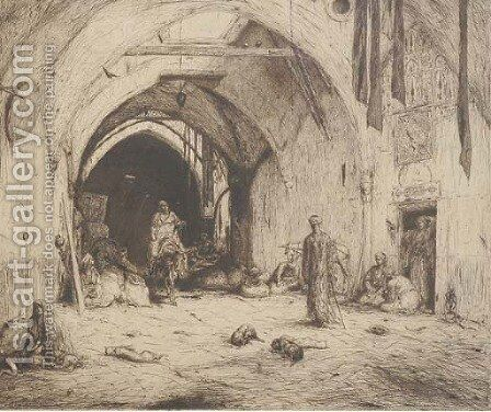 A bazaar in Damascus by Marius Bauer - Reproduction Oil Painting