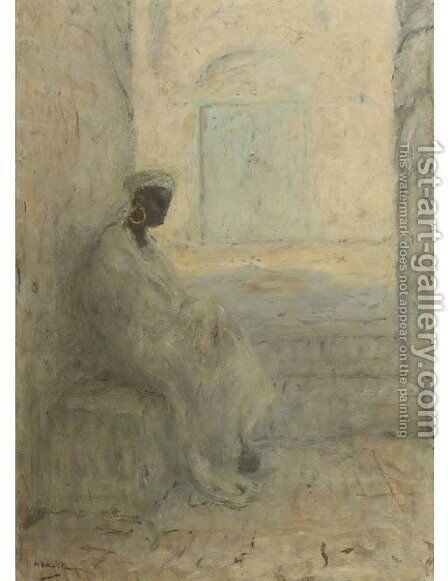 An Arabian woman sitting in the shade by Marius Bauer - Reproduction Oil Painting