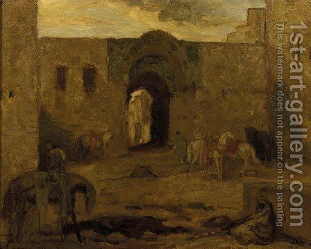 Binnenplaats Constantinopel horses in a courtyard by Marius Bauer - Reproduction Oil Painting