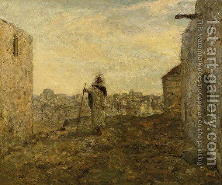 Blinde bedelaar a blind beggar on a hill top, a town beyond by Marius Bauer - Reproduction Oil Painting