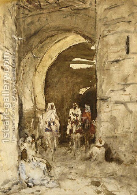 Horsemen by a city gate by Marius Bauer - Reproduction Oil Painting