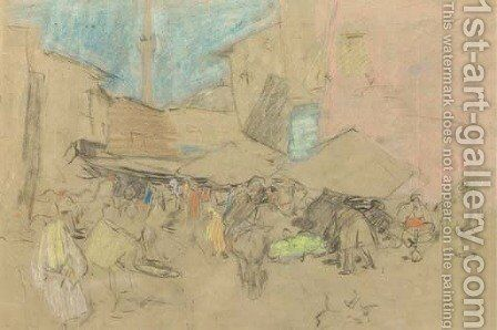 Market in Constantinople - a study by Marius Bauer - Reproduction Oil Painting