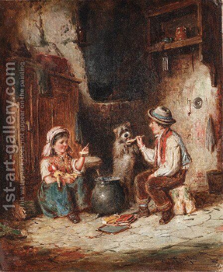Meal time by Mark W. Langlois - Reproduction Oil Painting