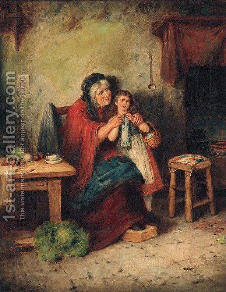 The Knitting Lesson by Mark W. Langlois - Reproduction Oil Painting