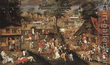 A village kermesse by Marten Van Cleve - Reproduction Oil Painting