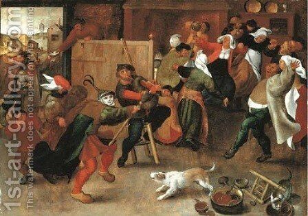 Peasants singing, dancing and drinking in an interior by Marten Van Cleve - Reproduction Oil Painting