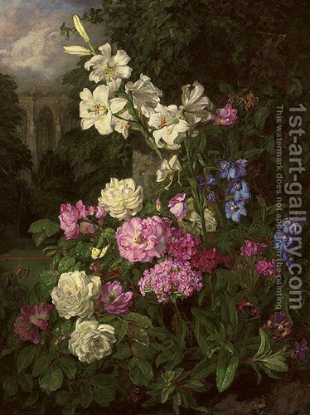 Garden in the close by Martha Darley Mutrie - Reproduction Oil Painting
