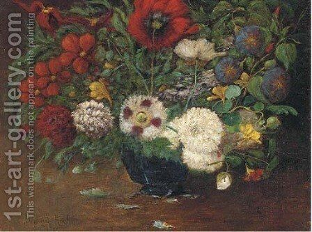 Still life of mixed flowers in a bowl by Martha Elisabeth Barboud Koch - Reproduction Oil Painting