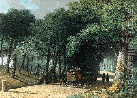 A Road entering a Forest with a Group of Soldiers attacking a Carriage by Martheus Derk Knip - Reproduction Oil Painting