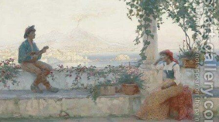 A serenade above the Bay of Naples by Martin Gwilt-Jolley - Reproduction Oil Painting