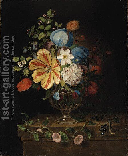 Flowers in a glass Vase with Blackcurrants on a Ledge by Martin Van Dorne - Reproduction Oil Painting
