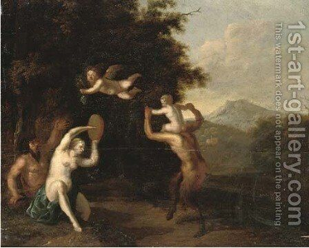 A wooded landscape with satyrs and a nymph dancing by Martinus De La Court - Reproduction Oil Painting