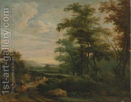 Travelers on a path by Martinus De La Court - Reproduction Oil Painting