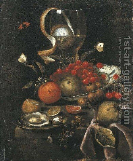 A partly-peeled lemon in a giant roemer, a Wan-li dish with cherries, apples and oranges, and a pewter plate with oysters and a walnut, with a pear by Marten Nellius - Reproduction Oil Painting