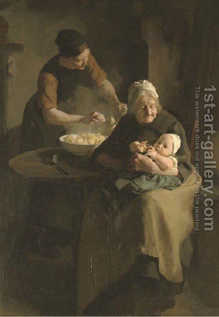 Three generations by Martinus Schildt - Reproduction Oil Painting