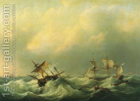 A Dutch brig comming to the aid of a frigat in distress by Martinus Schouman - Reproduction Oil Painting