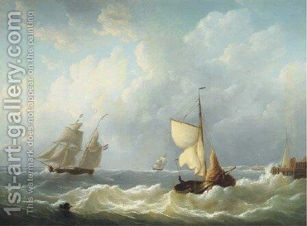 Dutch sailing vessels on choppy waters by a jetty by Martinus Schouman - Reproduction Oil Painting