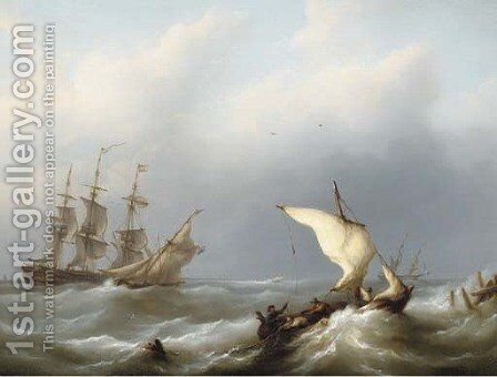 Dutch shipping offshore in a heavy swell, the merchantman flying her identification number 43 by Martinus Schouman - Reproduction Oil Painting
