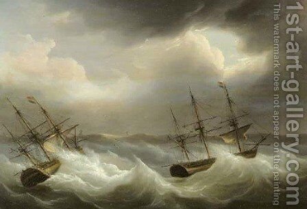 Threemasters in distress off the coast by Martinus Schouman - Reproduction Oil Painting