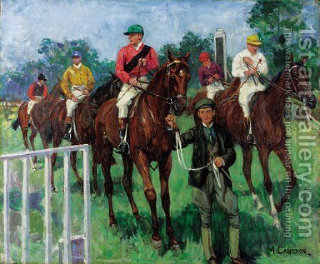 Hurst Park Races, Middlesex by Mary Cameron - Reproduction Oil Painting