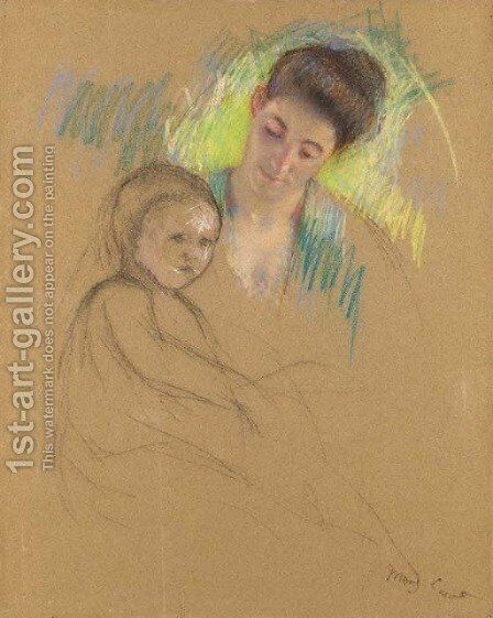 Sketch of Mother Jeanne Looking Down at Her Baby by Mary Cassatt - Reproduction Oil Painting