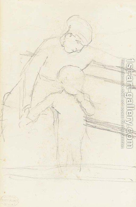 Sketch of Nurse Seated on a Bench, Baby Standing Beside Her by Mary Cassatt - Reproduction Oil Painting