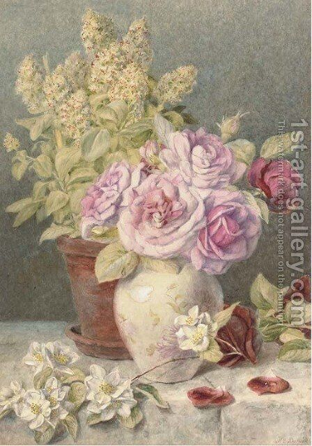 Giant mignionette and roses by Mary Elizabeth Duffield - Reproduction Oil Painting
