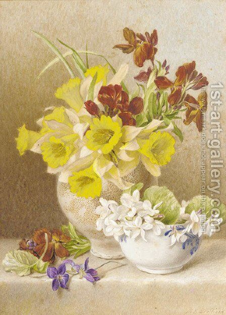 Still life with daffodils, cyclamen and anemones in ceramic vases on a ledge by Mary Elizabeth Duffield - Reproduction Oil Painting