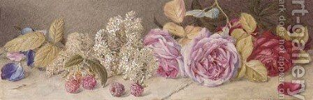 Roses and spiroea by Mary Elizabeth Duffield - Reproduction Oil Painting