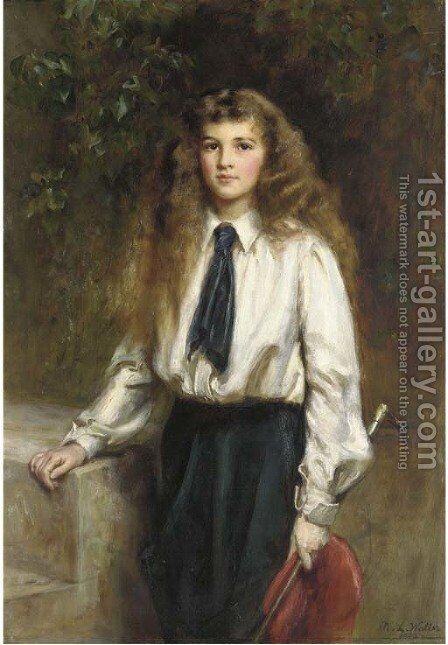 Portrait of Molly, daughter of the late Sir Arthur Pease, Bt., in a riding habit, holding a riding crop by Mary Lemon Waller - Reproduction Oil Painting