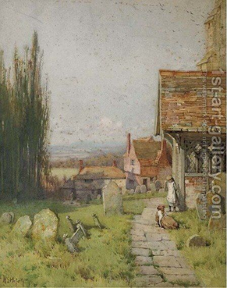 Children on a churchyard path by Mary S. Hagarty - Reproduction Oil Painting