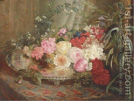 Roses on a silver platter on an oriental rug by Mary Vernon - Reproduction Oil Painting