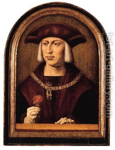 Portrait of Emperor Maximilian I von Habsburg (1459-1519) by Master Of Frankfurt - Reproduction Oil Painting