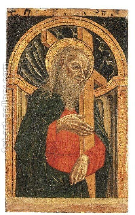 Saint Andrew, in an architectural niche by Master Of The Pala Sforzesca - Reproduction Oil Painting