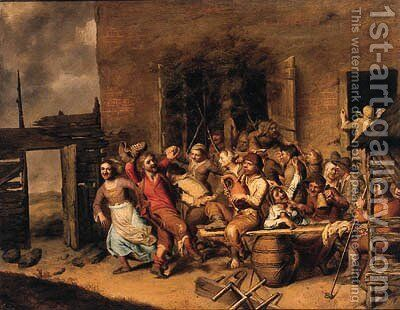 Peasants merrymaking in a farmyard by Matheus Berckmans - Reproduction Oil Painting