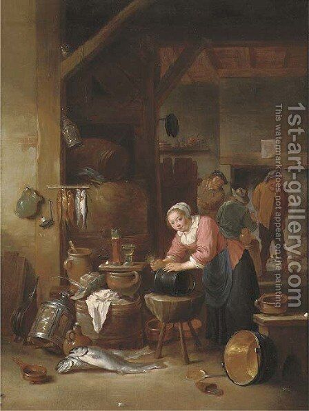 A tavern interior with a woman cleaning a cauldron and three boors drinking in front of an open fire beyond by Matheus van Helmont - Reproduction Oil Painting