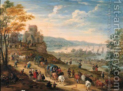 A coastal scene with drovers and their herds and travellers in horse-drawn carts on a path, a harbour with shipping beyond by Mathys Schoevaerdts - Reproduction Oil Painting