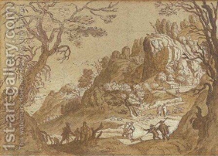 An extensive mountain landscape seen through trees, with peasants and their flocks and travellers on a road beyond by Matthäus the Elder Merian - Reproduction Oil Painting