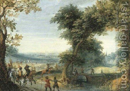 A wooded landscape with a cavalry skirmish, a city beyond by Mattheus Adolfsz Molanus - Reproduction Oil Painting