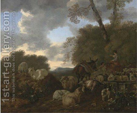 An Italianate landscape with a herdsman with his flock and donkey and a woman on a horse by Mathias Withoos - Reproduction Oil Painting
