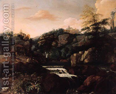 Goats and sheep by a waterfall beneath a village in an Italianate landscape by Mathias Withoos - Reproduction Oil Painting