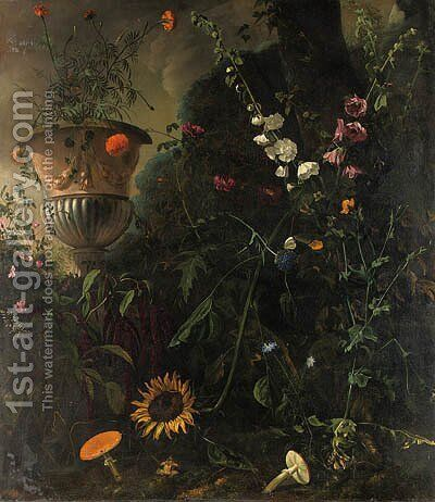 Hollyhocks, Roses, a Blue-lace Flower, a Sunflower and Toadstools, with Marigolds in an Urn by a Tree by Mathias Withoos - Reproduction Oil Painting