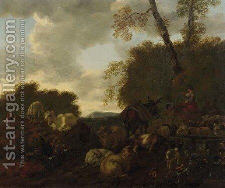 Shepherds and their flock by a well in an Italianate landscape by Mathias Withoos - Reproduction Oil Painting