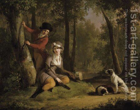 An elegant couple out hunting with their dogs by Mathieu Ignace van Brée - Reproduction Oil Painting