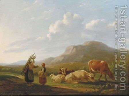 A summer landscape with cattle by Matthijs Quispel - Reproduction Oil Painting